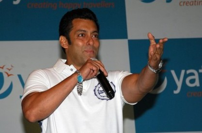 Indian Bollywood Actor Salman Khan speaks at a press conference announcing him as the brand ambassador for the online travel portal Yatra.com in Mumbai on April 2, 2012. AFP PHOTO/STR (Photo credit should read STRDEL/AFP/Getty Images)