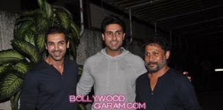 Abhishek Bachchan, John Abraham and Nargis Fakhri at Madras Cafe screening – Photos