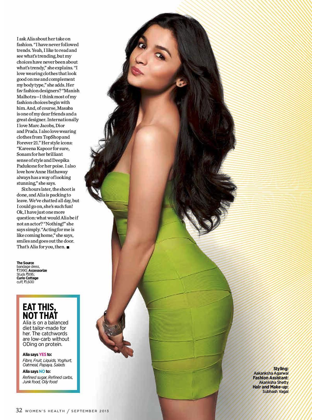 Alia Bhatt Health magazine