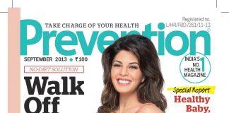 Jacqueline Fernandez on the cover of Prevention Magazine September 2013 issue