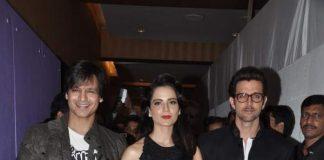 Hrithik Roshan, Vivek Oberoi and Kangana Ranaut attend Krrish 3 party