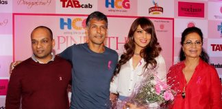Bipasha Basu and Milind Soman show support to HCG Pinkathon 2013