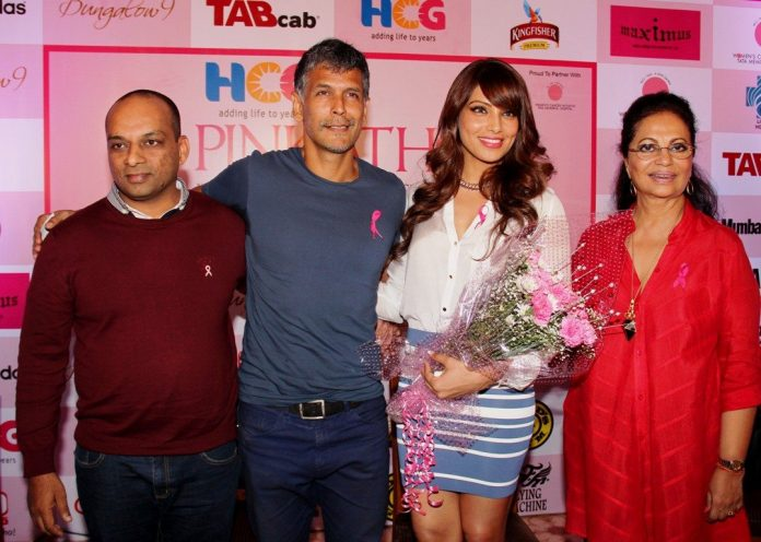 At the annoucement of the 10000th registration Dinesh Mehta, HCG, Milind Soman, Pink Sister Bipasha Basu and Deveika Bhojwani