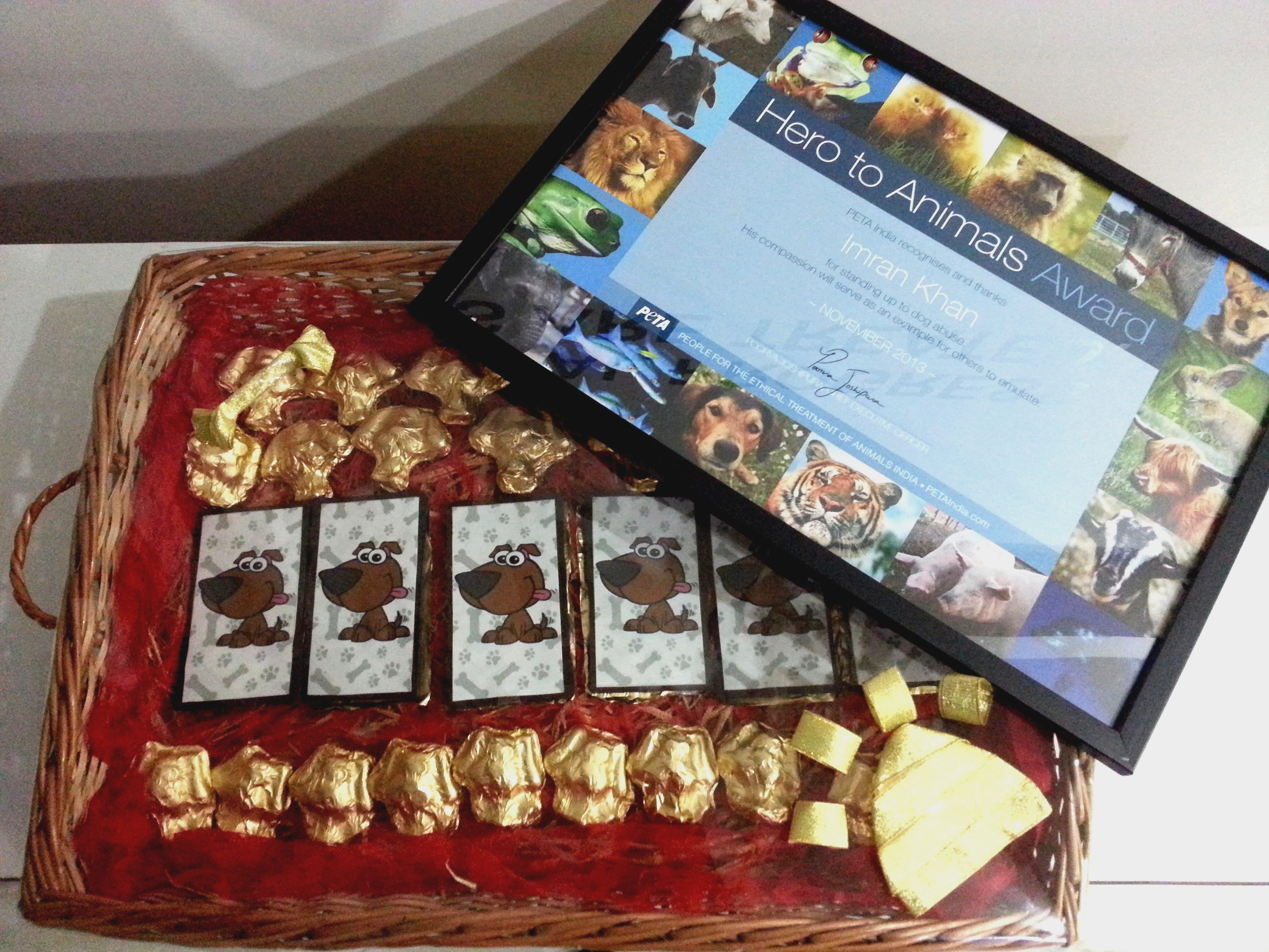 Award and chocolates