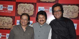 Anoop Jalota and Pankaj Udhas attend Talat Aziz's radio show launch