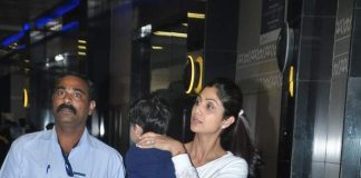 Shilpa Shetty spotted at airport with husband and son