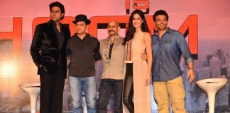 Katrina Kaif, Abhishek Bachchan, Uday Chopra attend Dhoom 3 press conference