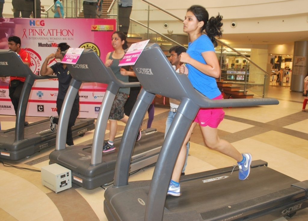 Participants running on the Treadmill for Tredathon event (2)