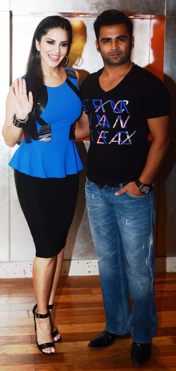 Sunny Leone and Sachiin Joshi at Jackpot press con 2