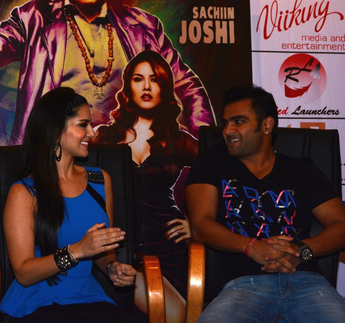 Sunny Leone and Sachiin Joshi share a moment at Jackpot press con