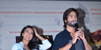 Sonakshi Sinha and Shahid Kapoor promote R…Rajkumar at Mithibai College
