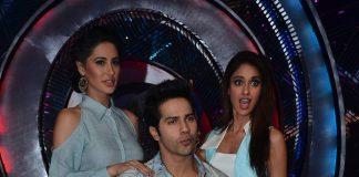 Nargis Fakhri, Varun Dhawan, Amitabh Bachchan on sets of Boogie Woogie