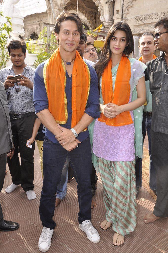 Tiger Shroff and Kriti Sanon at Babulnath temple