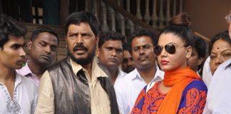 Rakhi Sawant promotes her political leader at Mahalaxmi