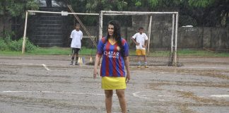 Rakhi Sawant plays soccer with underprivileged children