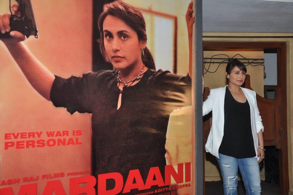 Rani Mukherji with Mardaani poster 2