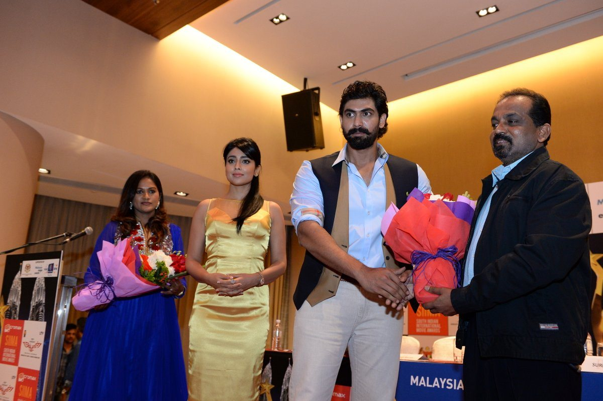 Shriya Saran, Rana Daggubati and many more attend South Indian International Movie Awards press conference.