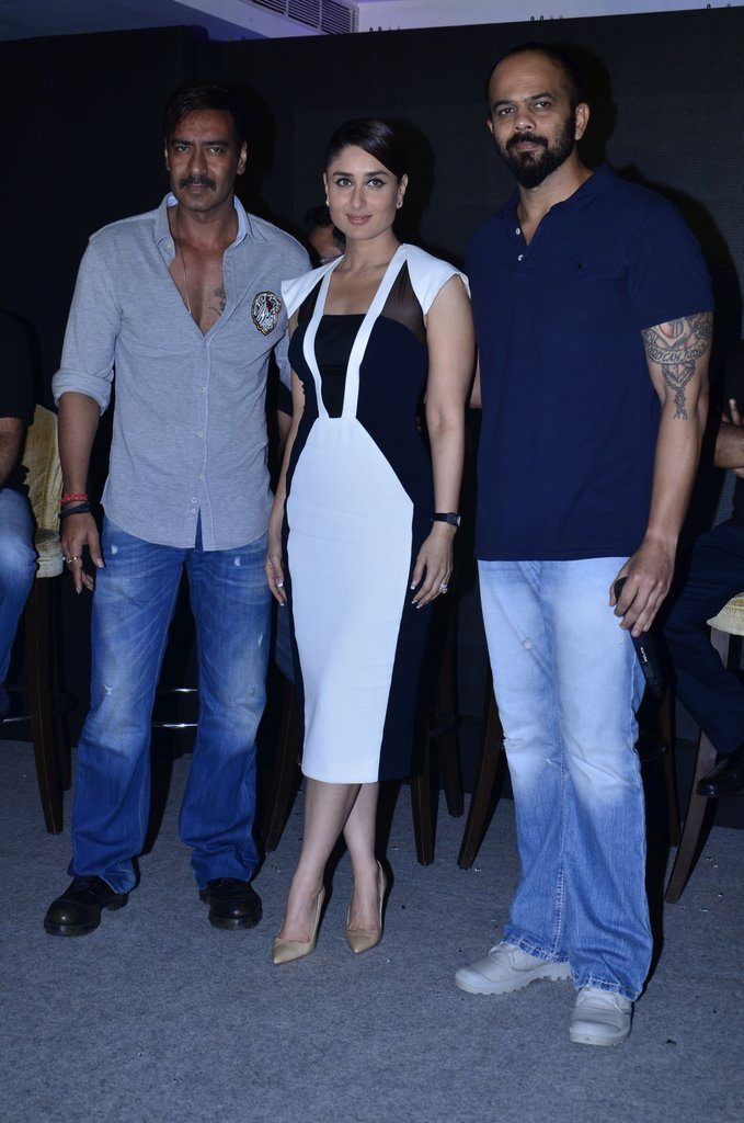 Kareena Kapoor, Ajay Devgn and Rohit Shetty