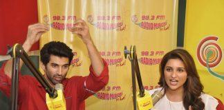 Parineeti Chopra and Aditya Chopra at Radio Mirchi to promote Daawat-e-Ishq