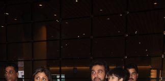 Shilpa Shetty, Raj Kundra and son Viaan at International airport