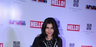 Nisha Jamwal and Shobha De at Hello! Art Soiree red carpet