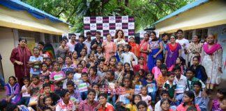 Dhruv Sharma and Tanaaz Irani vist children at Anand Niketan