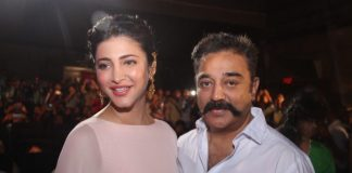 Shruti Haasan supports father Kamala Haasan at Thoongavanam music launch – Photos