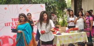 Sambhavna Seth and Naveen Prabhakar interact with underprivileged children