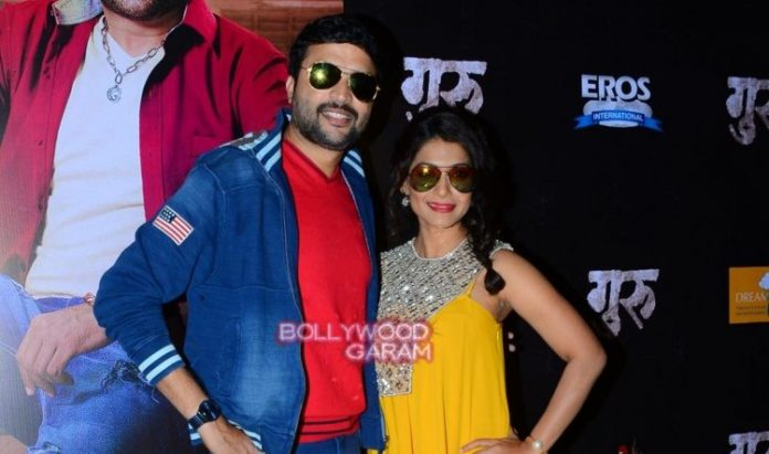 ankush chaudhary and urmila kanitkar at guru premiere