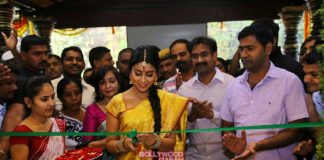 Shriya Saran stuns at VRK Silks inauguration – Photos