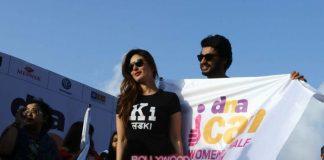 Arjun Kapoor and Kareena Kapoor encourage participants at Women's Marathon event