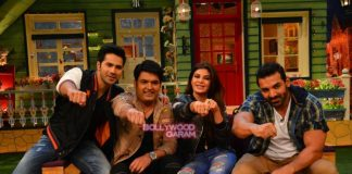 Varun Dhawan, John Abraham and Jacqueline Fernandez promote Dishoom on The Kapil Sharma Show