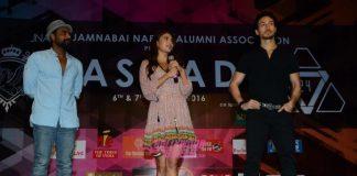 Tiger Shroff and Jacqueline Fernandez promote A Flying Jatt at Jamnabai's Cascade