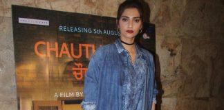 Stylish Sonam Kapoor  at Punjabi movie screening