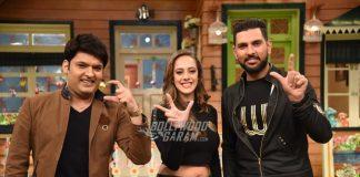 Yuvraj Singh and Hazel Keech appear on the Kapil Sharma Show