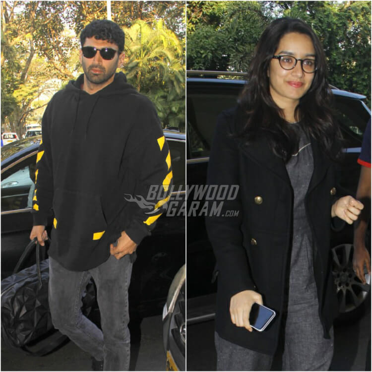 Shraddha Kapoor & Aditya Roy Kapur look all color coordinated at the Airport on Sunday, January 8, 2017