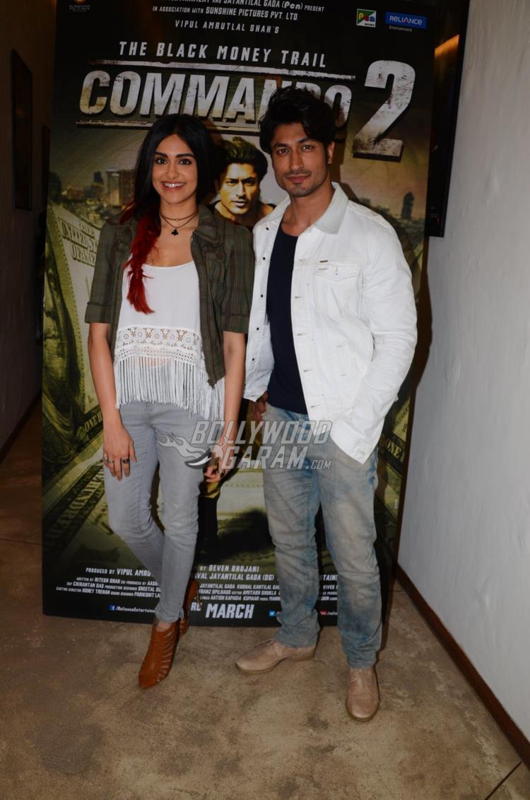 Adah Sharma and Vidyut Jamwal at Commando 2 promotions