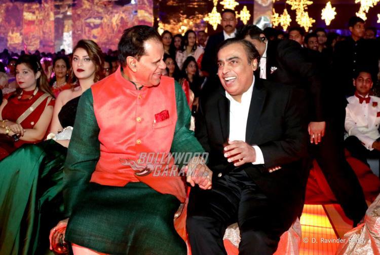 T. Subbarami Reddy with Mukesh Ambani at Sangeet ceremony