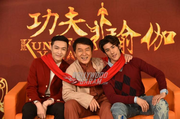 Aarif Lee, Jackie Chan and Lay Zhang at Kung FU Yoga promotions