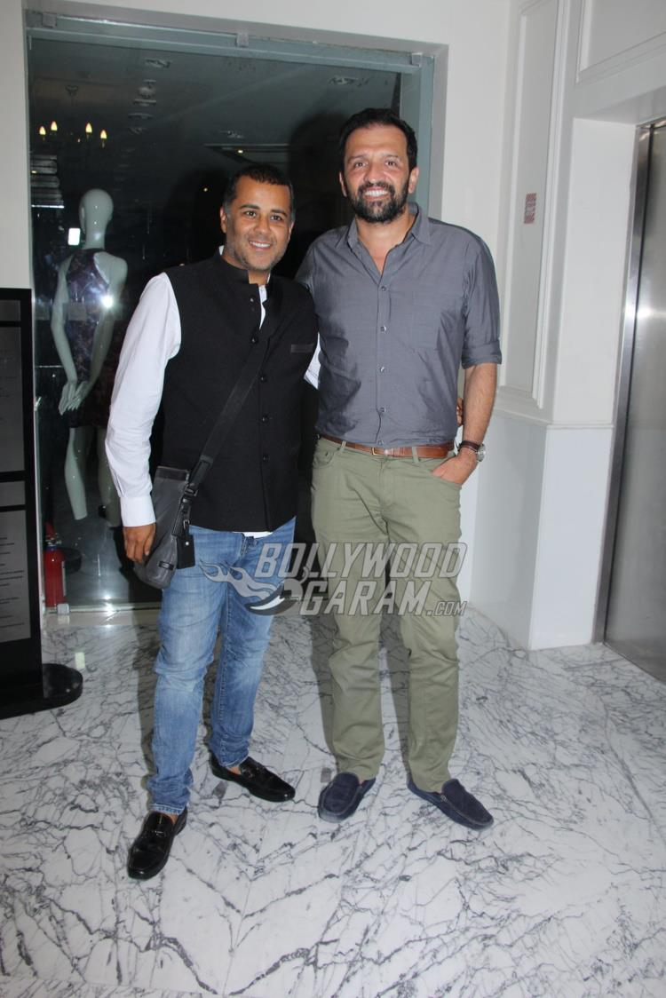 Chetan Bhagat and Atul Kasbekar at Raees special screening