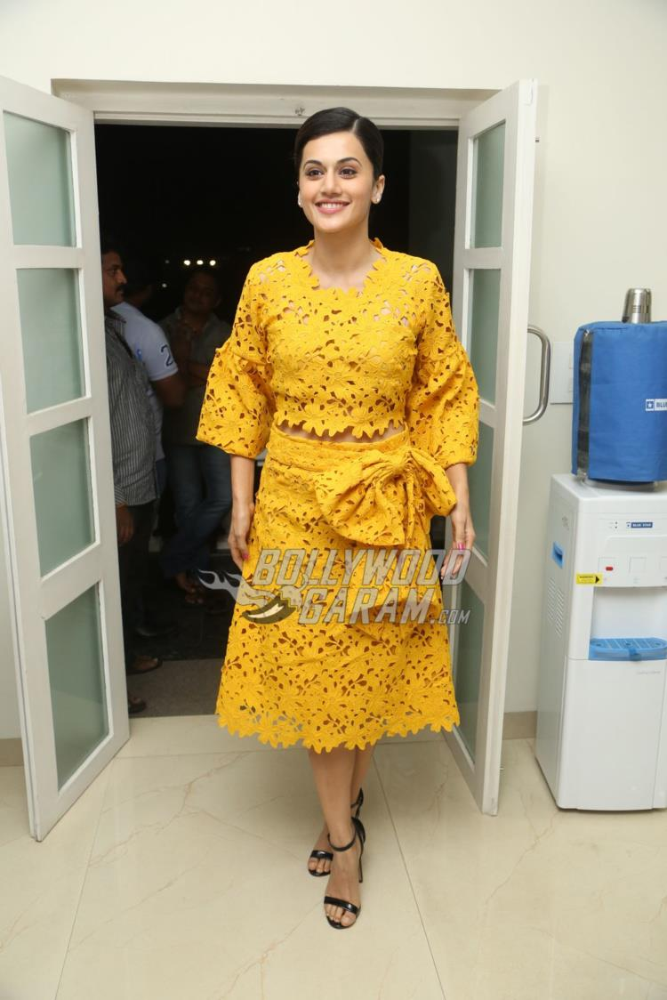 Taapsee Pannu poses at The Ghazi Attack press event