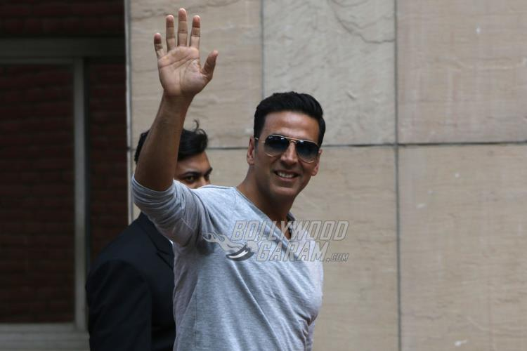 Akshay Kumar waves at the lenses during Jolly LLB 2 promotions at Amity University Noida