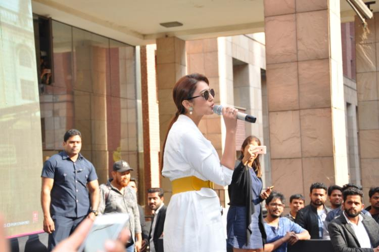 Huma Qureshi interacts with students during Jolly LLB 2 promotions at Amity University Noida
