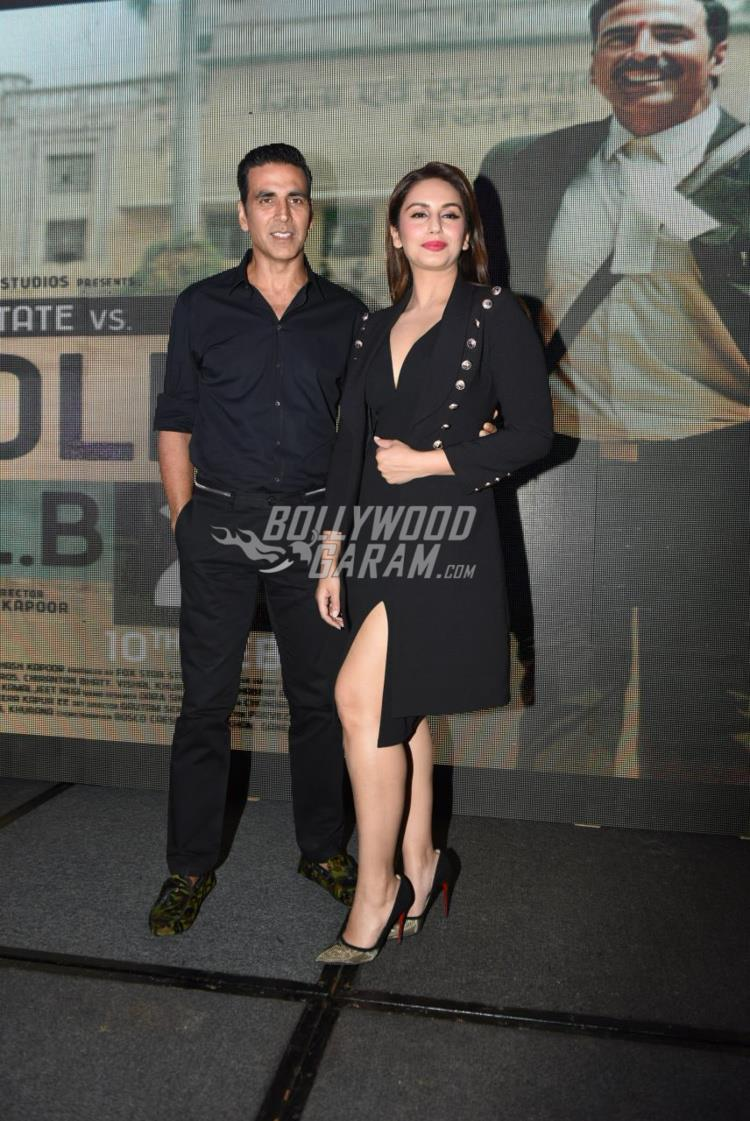 Akshay Kumar and Huma Qureshi pose at Jolly LLB 2 promotions in Delhi