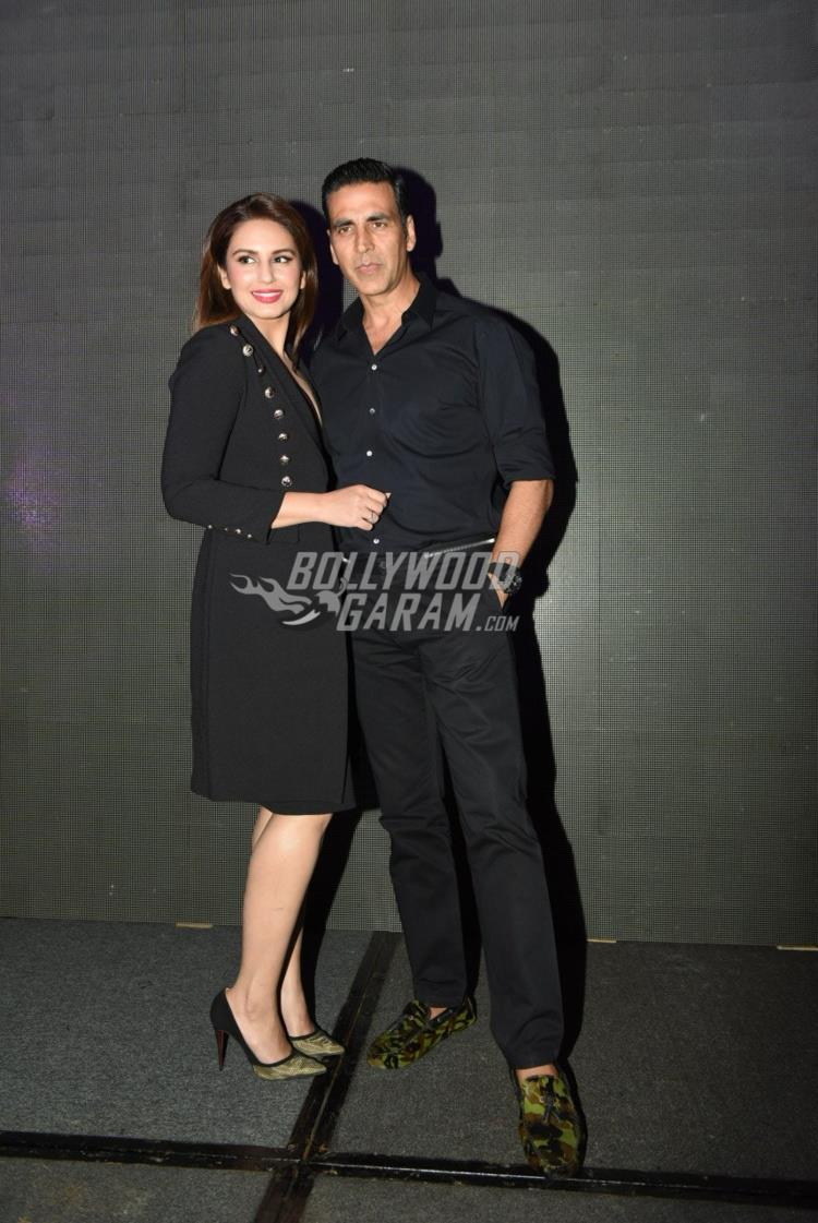 Huma Qureshi and Akshay Kumar at Jolly LLB 2 promotions in Delhi