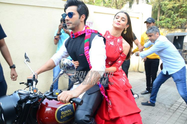 Varun Dhawan and Alia Bhatt pose at Badrinath Ki Dulhaniya trailer launch