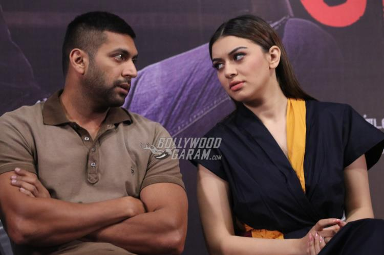 Jayam Ravi and Hansika Motwani at Bogan Press meet