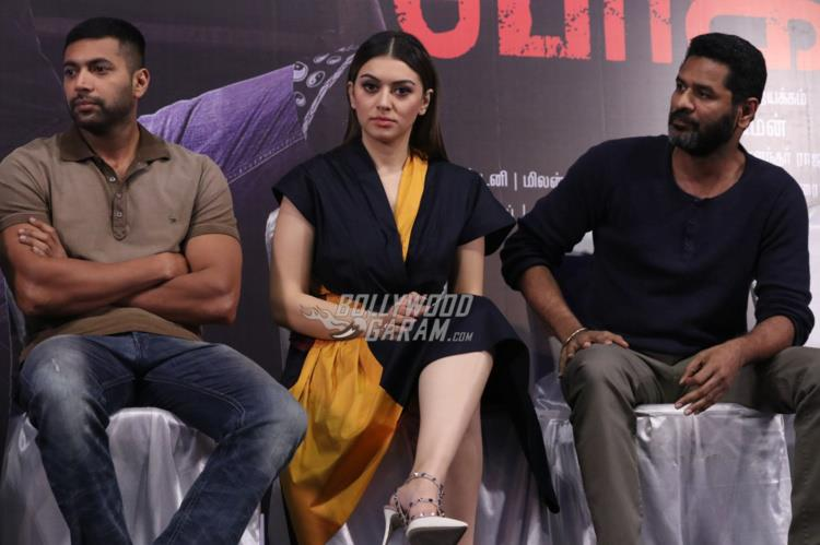 Jayam Ravi, Hansika Motwani and Prabhu Deva at Bogan Press meet