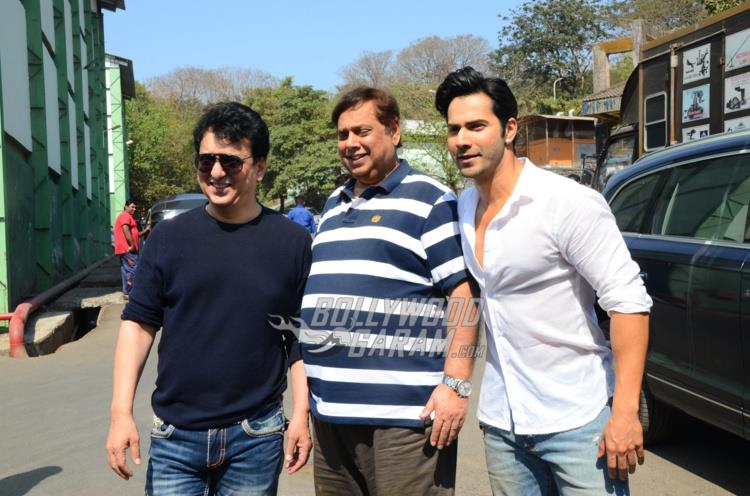 Sajid Nadiadwala, David Dhawan and Varun Dhawan pose at Judwaa 2 PC
