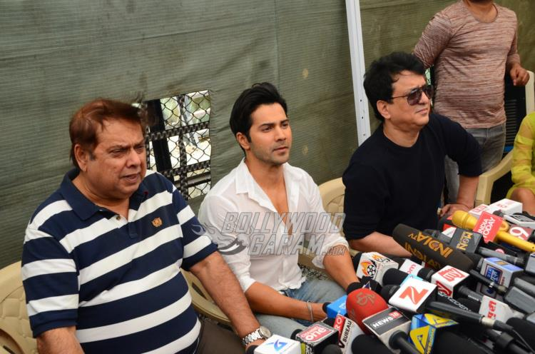 David Dhawan, Varun Dhawan and Sajid Nadiadwala interact with media
